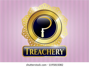 Golden emblem or badge with sickle icon and Treachery text inside
