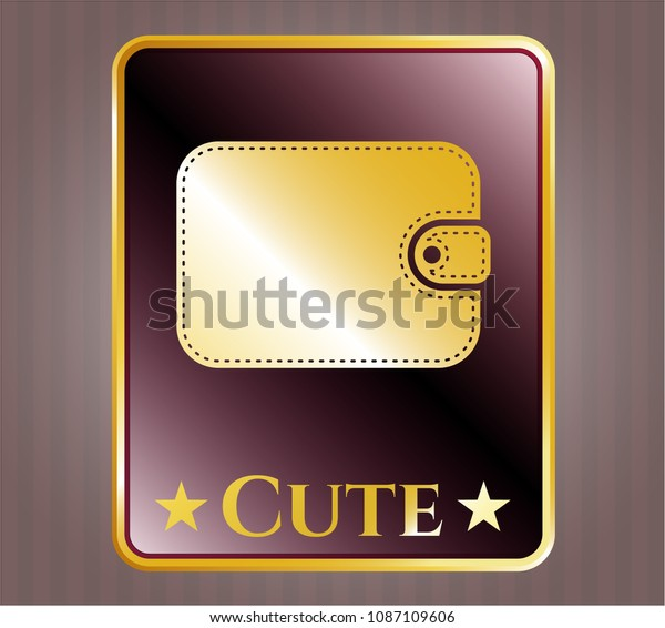 golden emblem badge wallet icon cute stock vector royalty free 1087109606 shutterstock