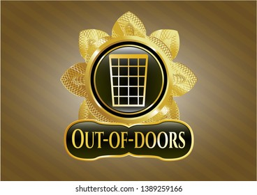 Golden emblem or badge with wastepaper basket icon and Out-of-doors text inside