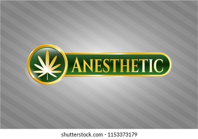 Golden emblem or badge with weed leaf icon and Anesthetic text inside