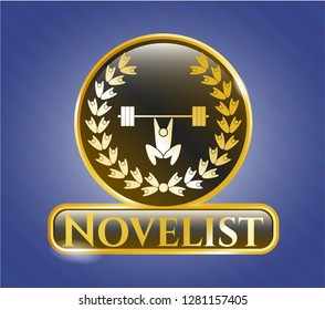 Golden emblem or badge with weightlifting inside of crown icon and Novelist text inside
