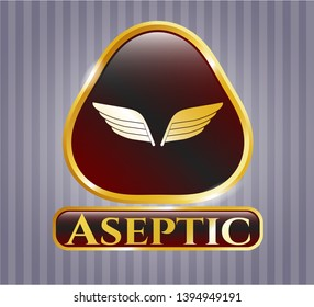 Golden emblem or badge with wings icon and Aseptic text inside