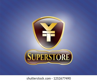 Golden emblem or badge with yuan icon and Superstore text inside