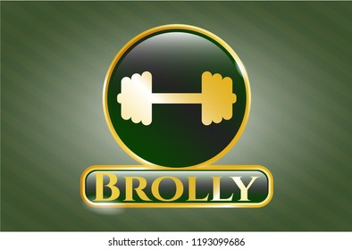 Golden emblem with big dumbbell icon and Brolly text inside