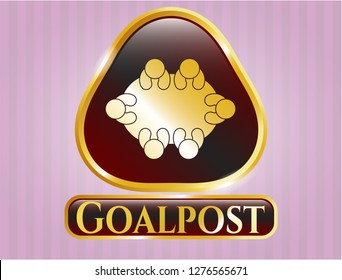 Golden emblem with business meeting teamwork icon and Goalpost text inside