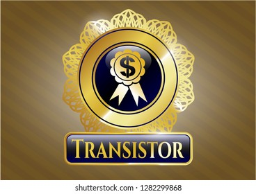 Golden emblem with business ribbon icon and Transistor text inside