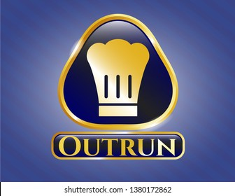 Golden emblem with chef hat icon and Outrun text inside