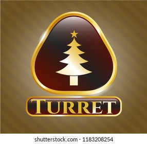 Golden emblem with christmas tree icon and Turret text inside