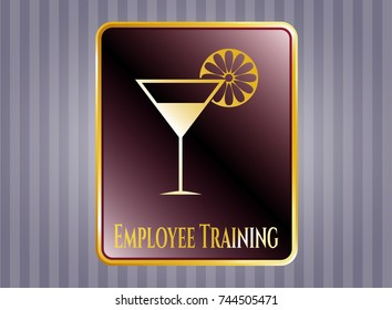 Golden emblem with cocktail glass icon and Employee Training text inside