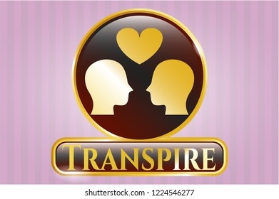 Golden emblem with couple in love icon and Transpire text inside