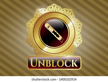 Golden emblem with cutter icon and Unblock text inside