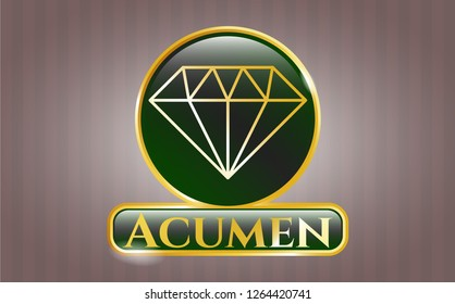 Golden emblem with diamond icon and Acumen text inside