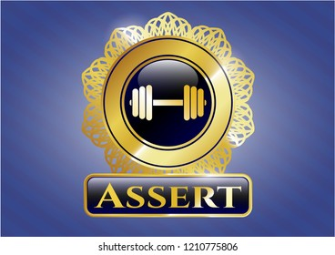 Golden emblem with dumbbell icon and Assert text inside