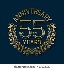 Golden emblem of fifty fifth years anniversary. Celebration patterned logotype with shadow on blue.