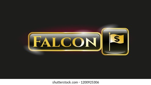 Golden emblem with flag with money symbol inside icon and Falcon text inside