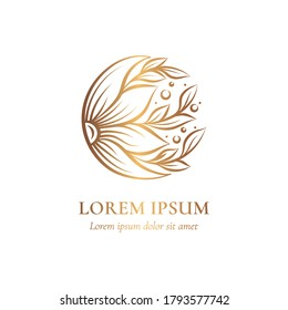 Golden emblem with flower in a circle shape. Can be used for jewelry, beauty and fashion industry. Great for logo, monogram, invitation, flyer, menu, background, or any desired idea.
