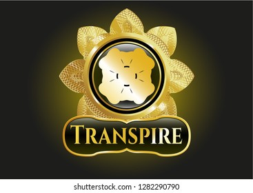Golden emblem with four leaf clover icon and Transpire text inside