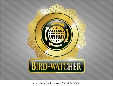 Golden emblem with globalization icon and Bird-watcher text inside