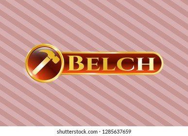 Golden emblem with hammer icon and Belch text inside
