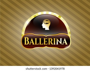 Golden emblem with head with gears inside icon and Ballerina text inside