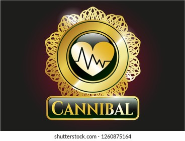 Golden emblem with heart with electrocardiogram icon and Cannibal text inside
