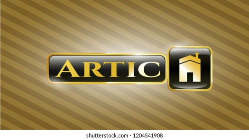 Golden emblem with house icon and Artic text inside