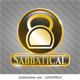 Golden emblem with kettlebell icon and Sabbatical text inside