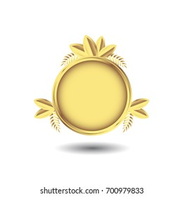 Golden emblem with laurel wreath and leaves. Shiny vector illustration. Isolated.