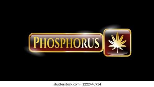 Golden emblem with marijuana leaf, weed icon and Phosphorus text inside