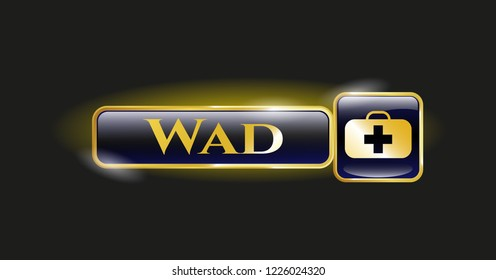 Golden emblem with medical briefcase icon and Wad text inside