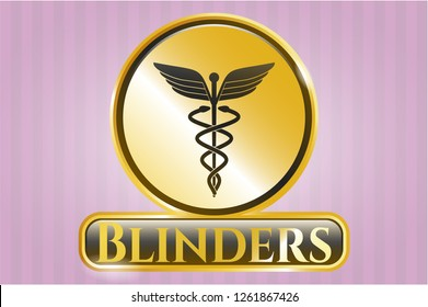 Golden emblem with medicine icon and Blinders text inside