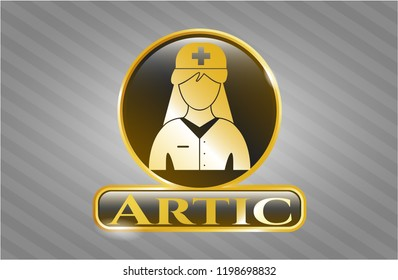Golden emblem with nurse icon and Artic text inside