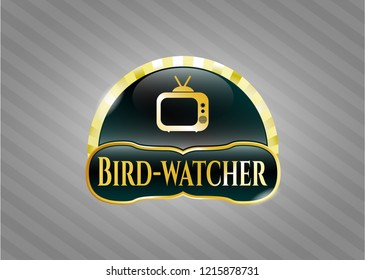 Golden emblem with old tv, television icon and Bird-watcher text inside