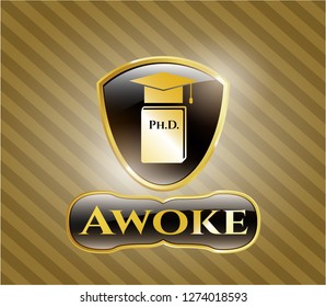 Golden emblem with Phd thesis icon and Awoke text inside