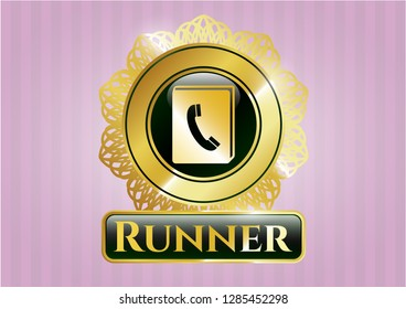 Golden emblem with phonebook icon and Runner text inside