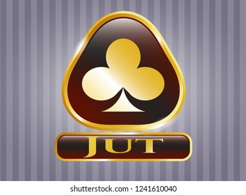 Golden emblem with poker clover icon and Jut text inside