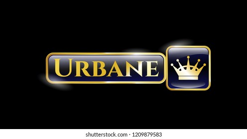 Golden emblem with queen crown icon and Urbane text inside