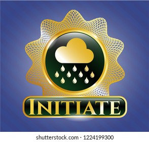 Golden emblem with rain icon and Initiate text inside