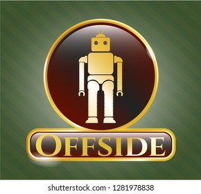 Golden emblem with robot icon and Offside text inside