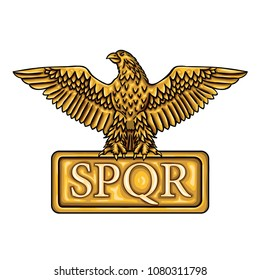 "Golden emblem of Roman Empire SPQR with eagle. It means ""senatus populusque romanus"" (The Roman Senate and people)"