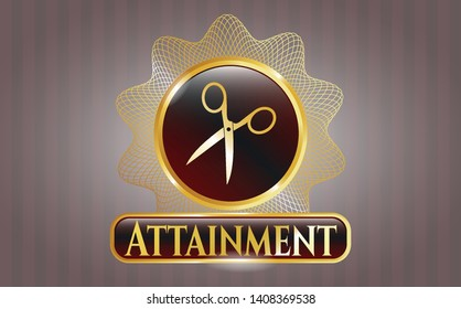 Golden emblem with scissors icon and Attainment text inside