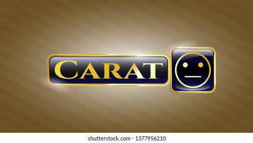 Golden emblem with serious face icon and Carat text inside