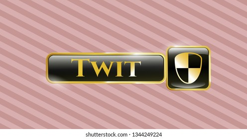 Golden emblem with shield, safety icon and Twit text inside