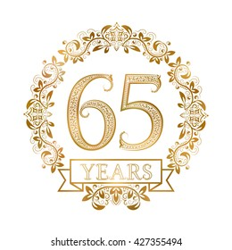 Golden emblem of sixty fifth years anniversary in vintage style.