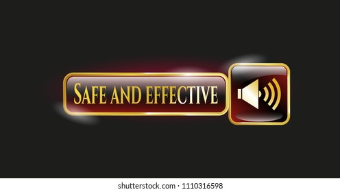 Golden emblem with sound icon and Safe and effective text inside
