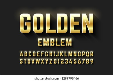 Golden emblem style font, metallic alphabet letters and numbers vector illustration