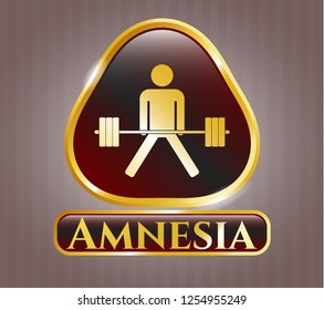 Golden emblem with sumo deadlift icon and Amnesia text inside