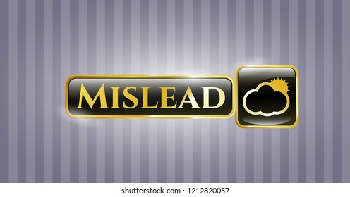 Golden emblem with sun behind cloud icon and Mislead text inside