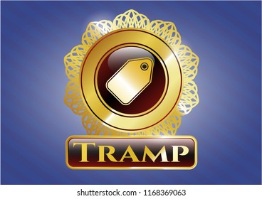 Golden emblem with tag icon and Tramp text inside