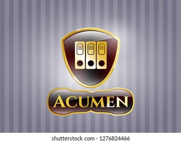 Golden emblem with three folders icon and Acumen text inside